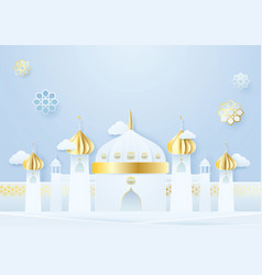 Paper craft mosque and islamic decoration ramadan vector