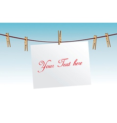 Paper on clothes line vector