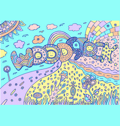 Pastel colored artwork with word woodstock and vector