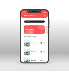Red book shop ui ux gui screen for mobile apps vector