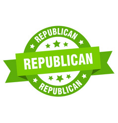 republican ribbon republican round green sign vector image