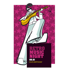 retro music poster hand drawn template vector image