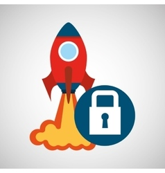 Rocket launch start up business security graphic vector