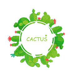 Round frame of cacti border vector