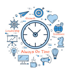 round linear concept of good time planning vector image