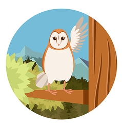 Screech-Owl on the flat tree background vector