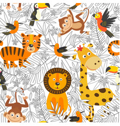seamless pattern with coloring tropical animals vector image