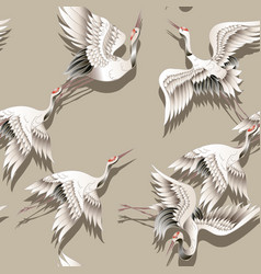 Seamless pattern with japanese white crane vector