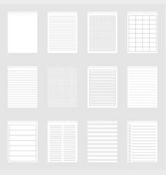 set note paper sheets vector image