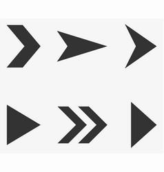 Set of black triangular arrow pointers isolated on vector