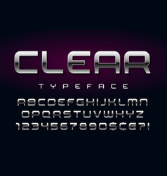 shiny silver display font design alphabet vector image