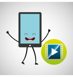 Smartphone character and video player vector