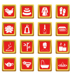 Spa treatments icons set red vector