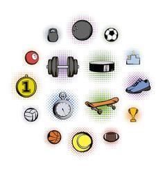 sports comics icons vector image