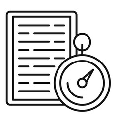 Stopwatch exam icon outline style vector