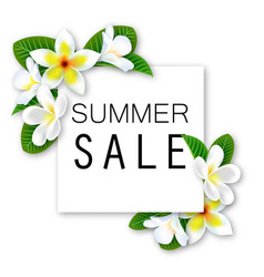 summer sale banner with flowers and waves vector image