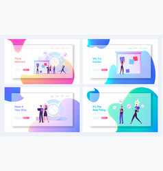 teamwork process website landing page set agile vector image