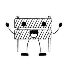 traffic fence flat icon monochrome cartoon blurred vector image