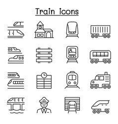 train icons set in thin line style vector image