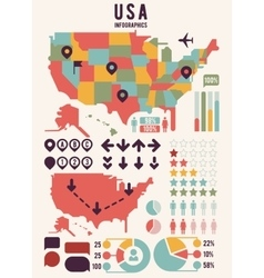 united states america usa map with infographics vector image