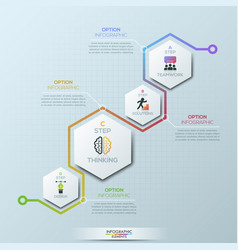 unusual infographic design template 4 hexagonal vector image