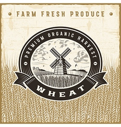 Vintage wheat harvest label vector