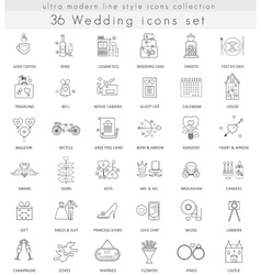wedding ultra modern outline line icons vector image