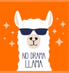 White llama with sunglasses and lettering vector