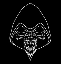 white skull on black background vector image