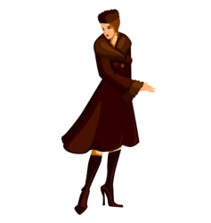 woman in fur coat vector image
