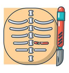 Xray of rib icon cartoon style vector