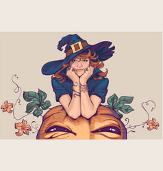Young woman dressed up in witch costume holiday vector