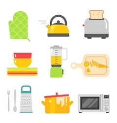 Kitchen dishes flat icons isolated on white vector
