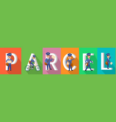 Parcel colourful banner with postman character set vector