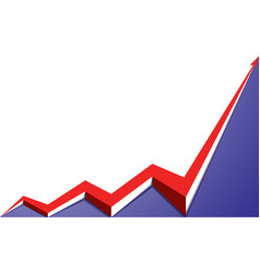 Red arrow graph goes up blue background vector