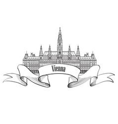 vienna city sign famous landmark building travel vector image