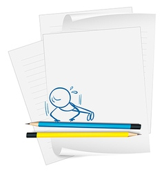A paper with a drawing of a boy doing push-ups vector image vector image