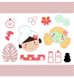 Cute spa set elements with beautiful girls vector image
