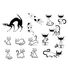 Cartoon cats collection vector image vector image
