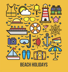 collection of summer logo symbolizing rest vector image vector image