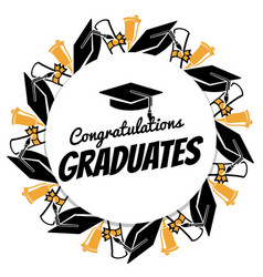 congrats graduates round banner with students vector image