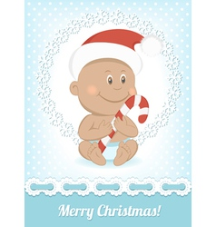 Funny Christmas African baby vector image vector image