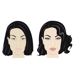 Girl with make up and without it vector image