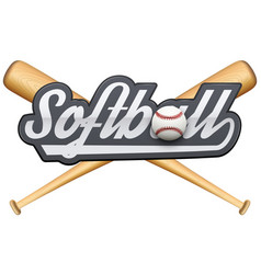 Softball symbol with tag and wooden bats vector image vector image