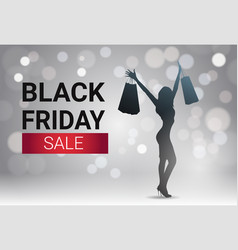 black friday sale banner design with silhouette vector image