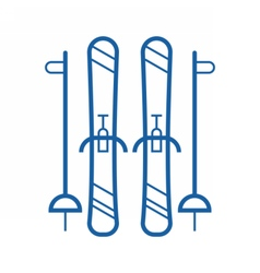 Line Skis Icon vector image