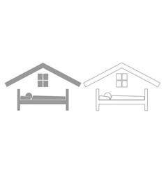 man in bed hotel grey set icon vector image vector image