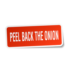 Peel back the onion square sticker on white vector