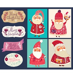 Set of funny Santa Clauses vector image vector image