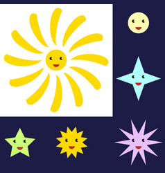 sun and star characters vector image vector image